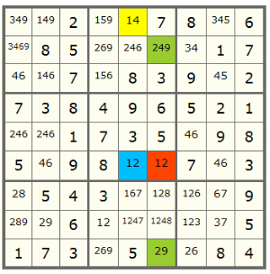 another Sudoku puzzle using Forcing Chain technique