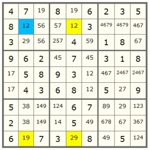 a Sudoku with XY-Wing pattern