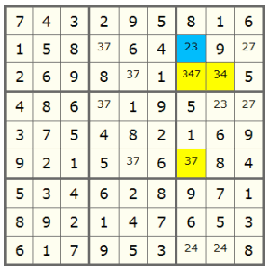 a Sudoku with XYZ-Wing pattern